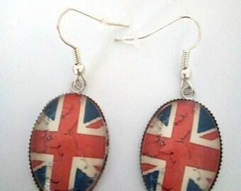 Earrings cabochon 18 * 25 mm glass London Union Jack theme
