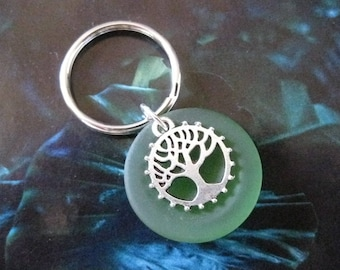 Tree of Life Green Sea Glass Key Ring