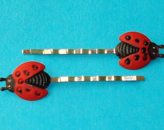 LAST ONE! Red Ladybug Ladybird Lucky Charm Garden Party Hair Bobby Pins - Set of 2