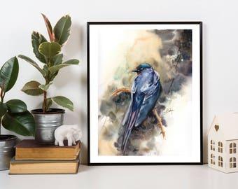 Blue Raven Bird ORIGINAL Waterclor Painting, watercolour Painting, Blue Bird Art, Painting of Bird by CanotStop