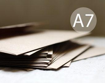 """25 5x7 Kraft Brown Envelopes - A7 Kraft Envelopes 5x7 inches (5 1/4"""" x 7 1/4"""") Kraft Brown Recycled Envelope - Grocery Bag Envelopes"""
