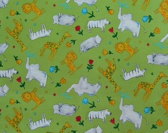 Animal Crackers from P&B Textiles - Half Yard Cut - Green Jungle Animals, Out of Print