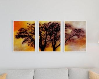Set of 3 Abstract Art Prints, 3 Piece Wall Art Decor, Abstract Tree Art, Tree Against Colorful Abstract Sky, Downloadable Three Prints
