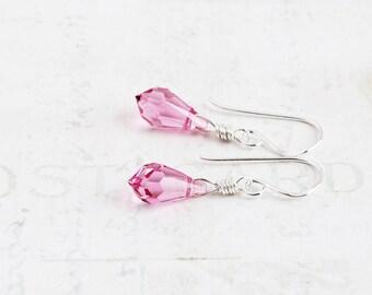 Dainty Pink Earrings, Pink Crystal Earrings on Sterling Silver Hooks, Tiny Teardrop Earrings, Delicate Jewelry (Swarovski Elements)