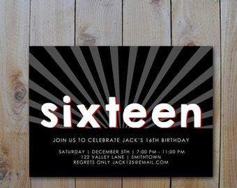 16th Birthday Invitation Black White Red Teen Boy PRINTABLE INVITATION 2315