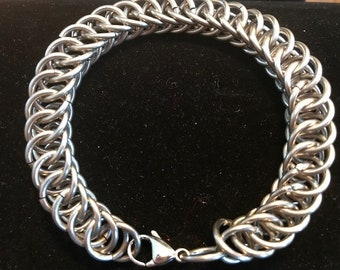 Men's Half Persian Chainmaille Stainless Steel Bracelet