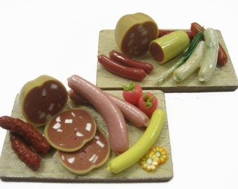 Dollhouse Miniature Food 2 Preparation Wooden Board Kitchen Cooking Supply 12193