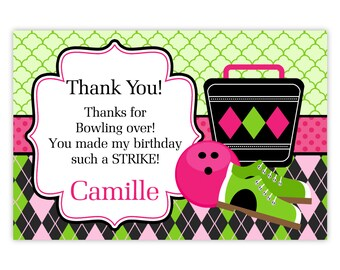 Bowling Thank You Card - Hot Pink, Green Arglye, Bowling Shoes, Bowling Ball Personalized Birthday Party Thank You - Digital Printable File