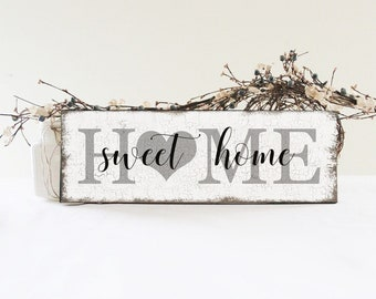 Home Sweet Home Sign, Rustic Home Wall Decor, Handcrafted Wood Sign,  Vintage Style