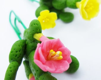 Cactus Paper Clip Handmade Miniature Polymer Clay for Lovely Gifts, set of 3 pieces