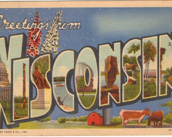 Linen Postcard, Greetings from Wisconsin, Dairy Farm, Capitol, Large Letter