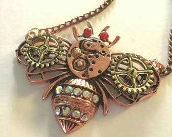 Steampunk Bee Necklace, Honey Bee, Clockwork Gears, Chain Necklace, Jewelry with Intention.