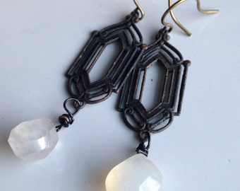 Etsy, Etsy Jewelry, Beaded Earrings, Dangly Earrings, Cloudy Quartz Briolettes, Gothic Findings, Vintage Inspired, Unique Earrings