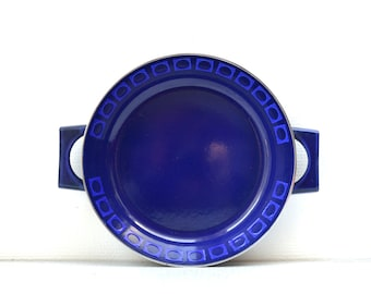 Silit Cobalt Blue Enamel Skillet- OP Art Modernist - West Germany Mid Century - Retro
