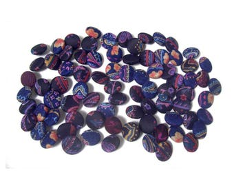 Colorful Cloth Buttons x 80