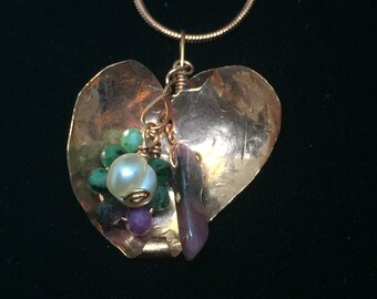 Copper Heart Crystal Healing Cluster Tourmaline Pearl Ruby Zoisite Pendant Necklace