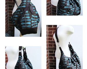 Extra large diaper bag in turquoise blue canvas tote bag with leather straps and base 3 way convertible backpack purse