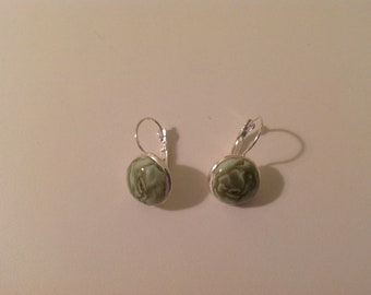 Lever back earrings with hand made clay design