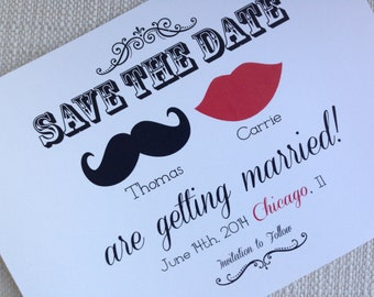 Lips and Mustache Save the Date or Announcement