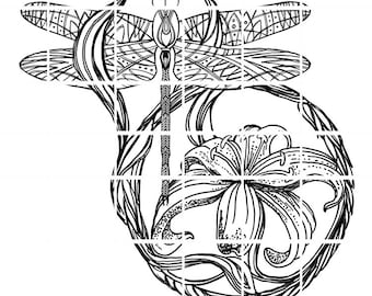 Dragonfly in the Lilies digital stamp by Tierra Jackson