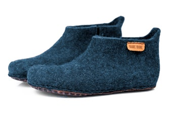 Father Slippers classic felted wool ankle slippers for dad, Felted ankle boots, Father's day gift for him, Wool boots for men,  Rustic gift