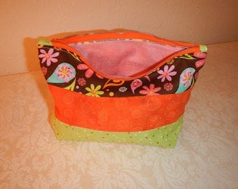 Makeup bag, lined, zippered bag, one of a kind, handmade in Montana