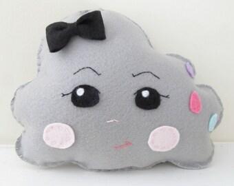 Felt Embroidered Storm Cloud Pillow, Nursery Decor Plush Toy