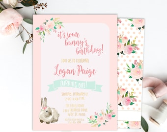It's Some Bunny's Birthday, First Birthday Party, Bunny Birthday, Girl Birthday, Pink, Floral