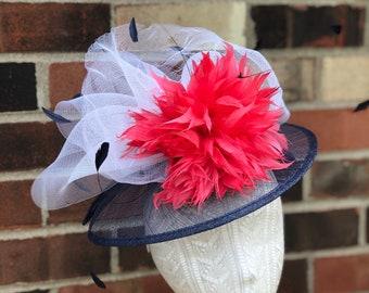 Coral, White, Navy, Sinamay, Kentucky Derby Fascinator