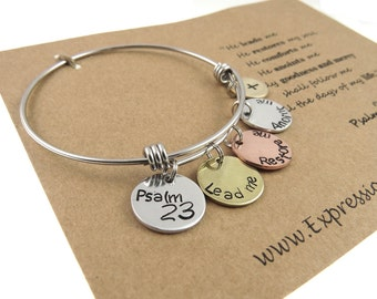Christian Jewelry - Scripture Jewelry - Hand Stamped Jewelry - Psalm 23 - Bible Verse Jewelry - Expressions Bracelets - Mantra