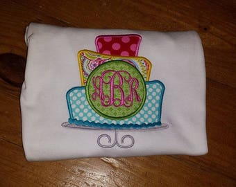 Birthday Cake Appliqued Shirt with Monogram/ Girls Birthday Shirt with Monogram/ Monogrammed girls birthday Shirt/ Girls Birthday Outfit