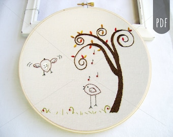 Embroidery PDF Pattern Two Birds Spiral Tree Autumn Fall Pattern