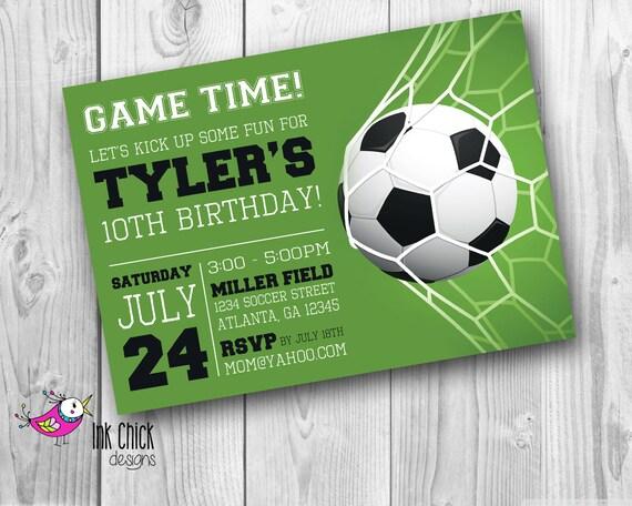 Soccer Birthday Invitation Sports Invitation Football Party