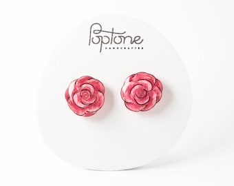 Pink Rose Stud Earrings, flower stud earrings, pink roses, valentines gift for her, small rose earrings, rose studs