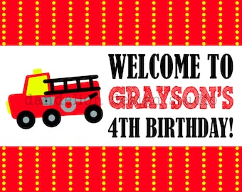 PRINTABLE Welcome Sign - Fire Truck Party Collection - Dandelion Design Studio