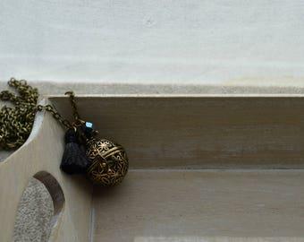 bola de grossesse, pompon noir, perle en cristal noire