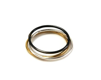 MIXED PACK discount Valdrada Collection | 3 stackable rings silver, oxidized, bath 24Kt gold | VALUE - A03