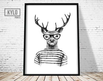 Deer Print, Minimalist Print, Deer Illustration, Hand Drawn Print, Funny Deer Print, Deer Art, Cute Deer Print, Deer Poster, Hipster Deer
