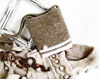 Boho knit bag ECO linen sack Crochet bag handle Bag with rose Hippie handbag Long strap purses Summer pouch Small crossbody bag Hip pack