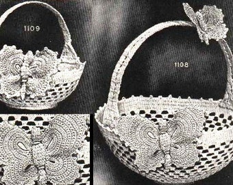 PDF Crochet Pattern - Vintage - Butterfly Purse/Handbag/Basket -  Digital DOWNLOAD PDF