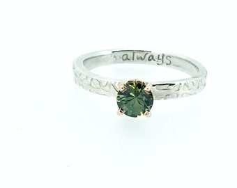 green sapphire engagement ring with silver rose band . alternative engagement ring . prong set Montana sapphire ring . ready to ship size 7