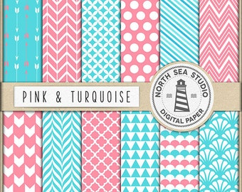 Pink And Turquoise Digital Paper Pack | Scrapbook Paper | Printable Backgrounds | 12 JPG, 300dpi Files | BUY5FOR8