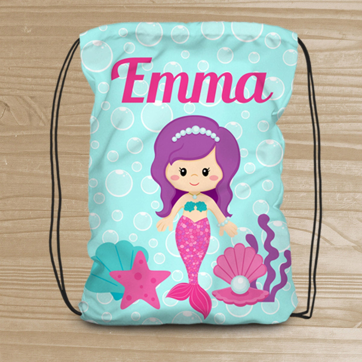 Personalized Mermaid Drawstring Backpack Beach Backpack for