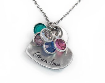 Heart Grandma Necklace - Handstamped Grandmother Necklace - Grandma Jewelry - Aluminum Heart with Birthstone Necklace
