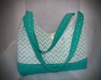Chevron Teal Tote / Purse .  Mothers Day Purse / Tote.   Chevron  Teal Tote .   Teal Color Purse.    Chevron  Bag. Baby Shower Gift .
