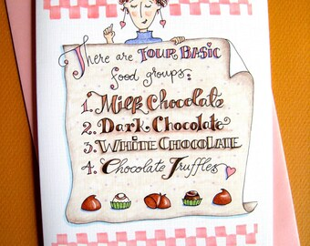 Funny Chocolate Card - Chocolate Gift Card - Friends Card - Chocolate Birthday Card - Chocolate Lover Card