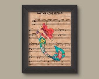 Disney Little Mermaid, Ariel Sheet Music Art Print, Little Mermaid Gift, Little Mermaid Art, Part of Your World Sheet Music Art Print