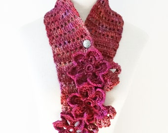 Floral Elegance Scarf, long scarf, pink raspberry coloured merino, floral scarf, SPECIAL EDITION, ready to ship, Woman's Scarf, floral