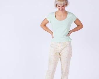 Womens Summer Trousers In Light Weight Texture With Print