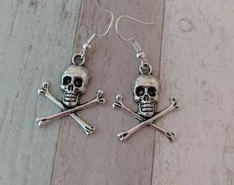 Skull earrings, skull jewelry, charm earrings, pirate earrings, punk earrings, punk jewelry, gothic earrings, gothic jewelry,